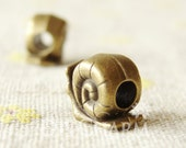Bronze Tone Snail Beads With 4.5mm Hole 12x11mm - 10Pcs - AR26644