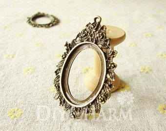 Antique Bronze Tone Frame Cameo Settings 58x43mm ( Inner Size 35x27mm ) - 2Pcs - DS19988