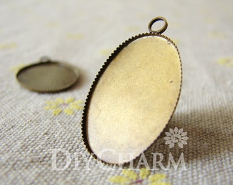 Antique Bronze Cameo Cabochon Base Settings 30x19mm ( Inner Size 25x18mm ) - 10Pcs - DS23928