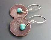 Hand Hammered Copper Circles-Arizona Turquoise-Sterling Earwires Earrings-Copper-Turquoise-Earrings-Jewelry-Pam Hurst Designs-Sterling