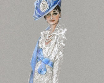 Audrey Hepburn My Fair Lady Colored Pencil Drawing, Blue Hat White Dress