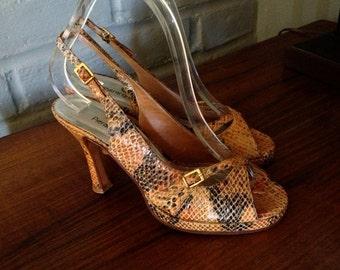 Rockabilly Platform Shoes Snakeskin Snake Skin Embossed Genuine Leather Peep Toe Sling Back 90s does 40s 50s Pumps Leather Sole Size 7