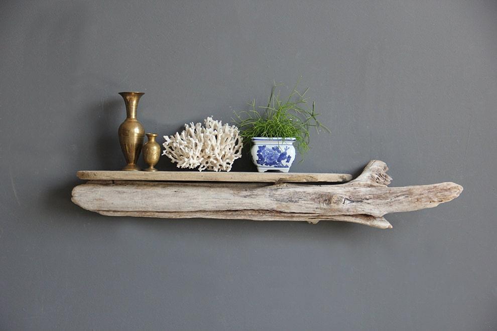 Gorgeous large sculptural slab driftwood shelf for Driftwood wall shelves