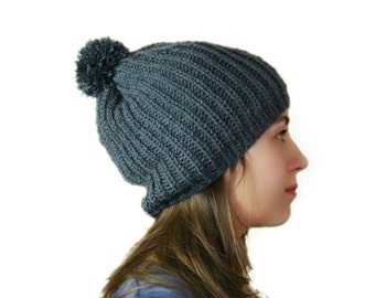 Pom Pom Slouchy Knit Hat in Charcoal Grey - Slouch Beanie -  Chunky Beret - Women Teens Accessories - Fall Winter Fashion