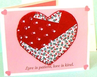 "CLEARANCE Love Card with Mug Mat ""Love is Patient, Love is Kind"" Bible Verse Blank Christian Greeting Card, 4 x 6 Note Card No.915"