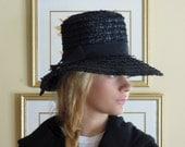 Vintage Straw 60s Navy Blue Straw Hat / Vacation Hat