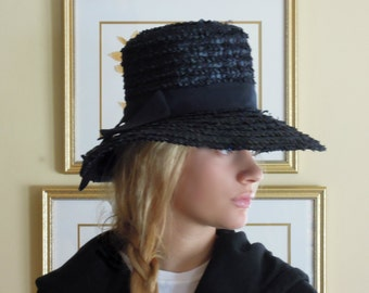 Vintage Straw 60s Navy Blue Straw Hat / Vacation Hat