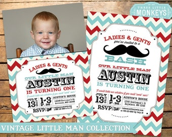 Vintage Little Man Mustache Bash, Moustache Bash or Barber Shop Invitation PLUS Matching Thank You Note