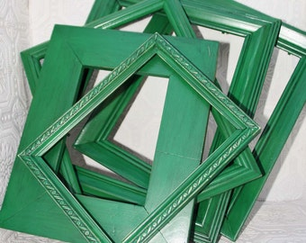 Green Frame One 11x14 Shabby Chic Vintage Hand Painted Distressed Frame