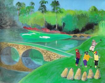 "Pug Art Print of an original oil painting - ""Mulligan Foursome at Augusta"" - 8 x 10 - Dog Art - golf"