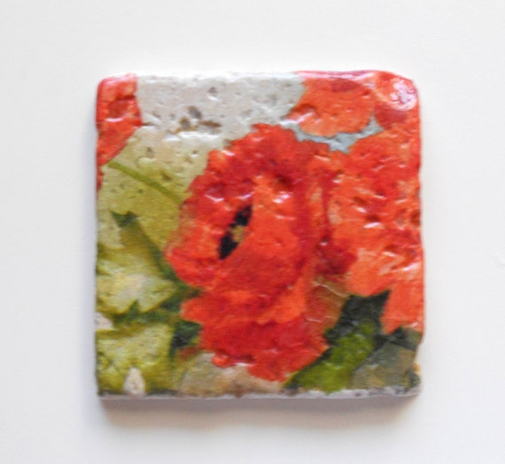 Floral Coasters Orange Red Poppies Set of 4 Coasters Stone Coasters Bright Orange/Red Poppy Stone Coasters (2s)