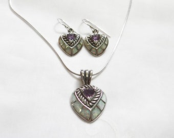 Amethyst and Opal Pendant and Earrings SET - Genuine Fire Opals and Amethysts - Solid Sterling Silver - Vintage