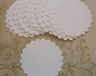 24 White Scallop Circle Die Cut pieces made from Sizzix die cut from cardstock paper Great for DIY Wedding Tags