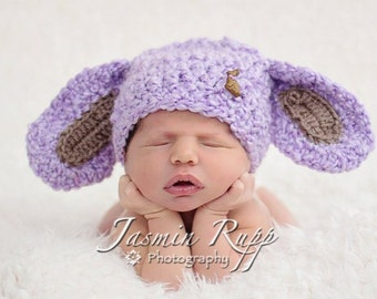 Baby Bunny Hat - Baby Girl Hat - Baby Boy Hat - Baby Hat - Lavender with Chocolate Bunny Button