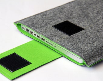"""15"""" MacBook Cover Case, Sleeve MacBook Pro, MacBook 15"""" Cases - Gray & Lawn Green - Weird.Old.Snail"""