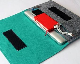 "15"" inch Apple Macbook Pro laptop Organizer Case Cover - Gray & Aquamarine - Weird.Old.Snail"