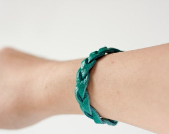 Leather Braided Bracelet / Turquoise / Lacuna