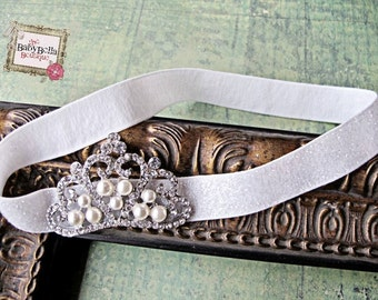 Baby Headband, Crown and  white glitter elastic headband, , Baby Girl Princess headband , Baptism,