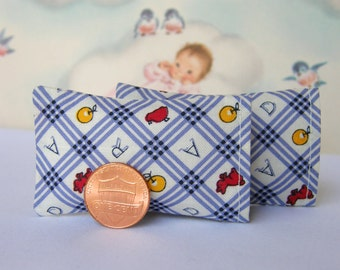 "Dollhouse Miniature Set of 2 Bed Pillows""Play Time"" - 1:12 scale"