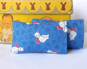 "Miniature Pillows ""Blue Beary"", set of 2 - 1:12 scale, Dollhouse Miniatures"