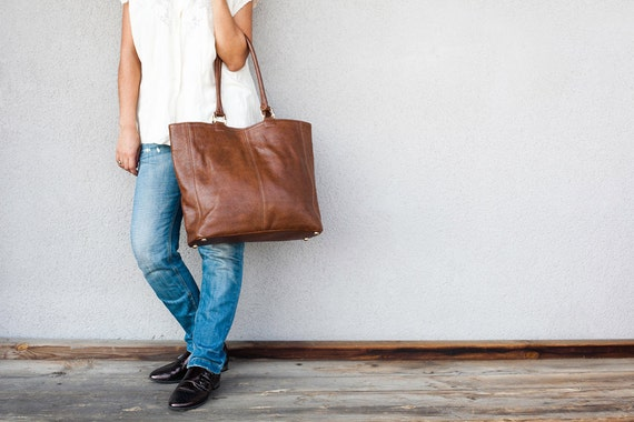 40% OFF !! Brown Leather Tote bag - everyday brown bag