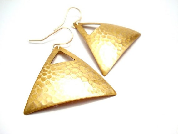 Hammered Gold Triangle Earrings Huge Gold Geometric by FiveOfMine
