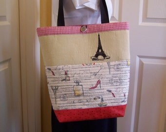 Hot Girl in Paris Leather Bottom Tote, Linen, cotton and quilted Purse, Women's Handbag, Embroidered Eiffel Tower