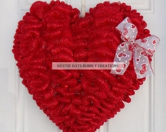 3-D Red Mesh Valentines Heart Wreath