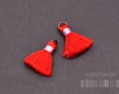T002-RA-RP// Red, Pink Rayon Tassel Pendant, 4pcs, 23mm