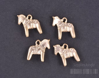 P324-MG// Matt Gold Plated Horse Pendant, 4pcs