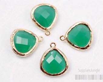 F100-G-GR// Gold Framed Green Faceted Glass Stone Pendant, 2 pcs