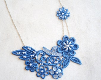 Blue Lace Statement Necklace