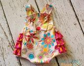 Summer Fun -  Retro Knot Ruffled Sunsuit Romper for girls Spring Summer Photo Prop