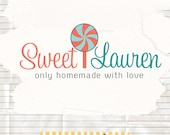 Sweet logo design premade candy logo candy business branding and watermark