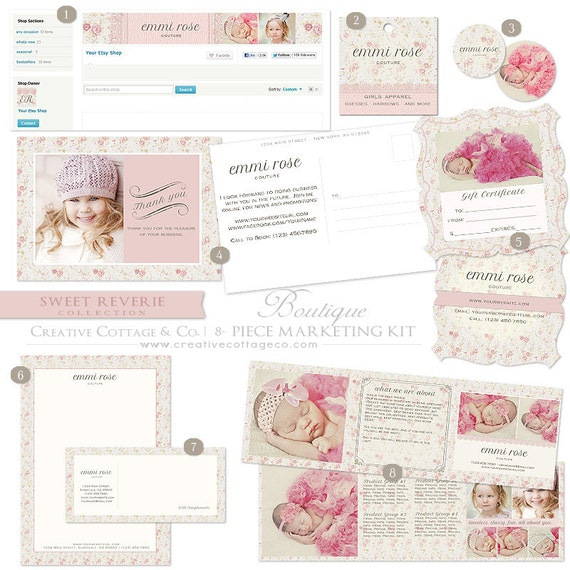 Sweet Reverie, Tiny Rose Print and Lace Photography or Boutique Marketing Set