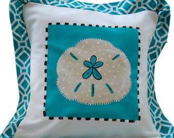 SALE Beach PIllow Cover Turquoise Sand Dollar