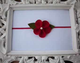 Red Felt Flower Headband Baby Headbands Newborn Photography Prop Girls Headbands-READY TO SHIP