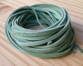 5Yds (450cm or 15Ft) Mint Nubuck Cowhide Cord, Lace, Strap-5 pcs of 3mm X 900mm(1Yd)
