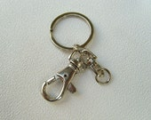 5 Key Chains with Swivel Connector (with O-ring) and Lobster Chain Clasp- Silver Plated-Type B