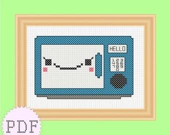 PDF cross stitch pattern Cute Microwave  INSTANT DOWNLOAD