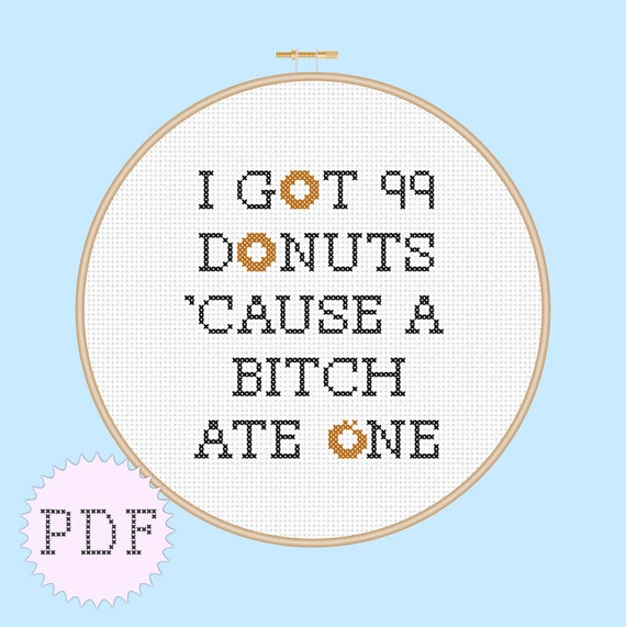 INSTANT DOWNLOAD PDF counted cross stitch beginner pattern quote mature