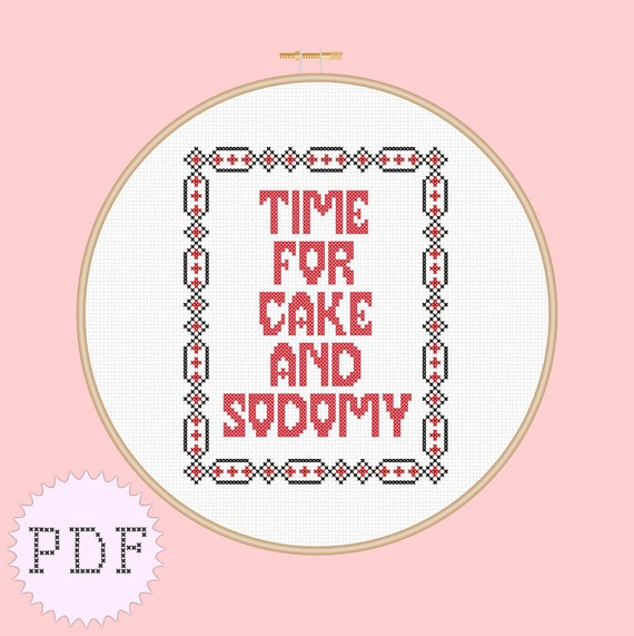 PDF INSTANT DOWNLOAD counted cross stitch pattern Marilyn Manson cake and sodomy