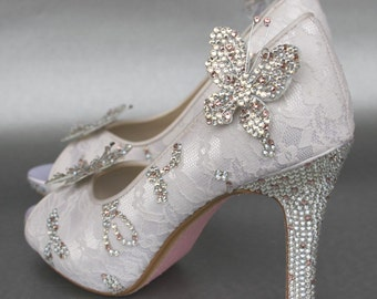 Custom Wedding Shoes Lace Butterfly Crystal