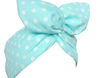 Mint green & White Polka Dot wire ROCKABILLY Pin Up Headband Hair Wrap