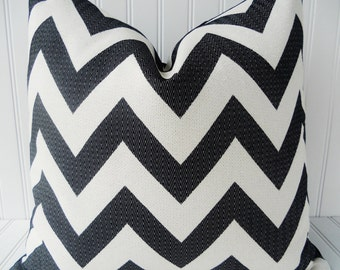 Black Chevron Pillow Cover Black Zig Zag Pillow Cover 12 x 18, 16 x 16, 18 x 18 inch Black Chevron Pillows