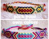 Friendship Bracelet - MADE TO ORDER: Braided Handmade Embroidery Floss Fiber Friendship Bracelet - Thin Tribal Diamonds