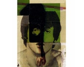 mixed media aceo: outsider art, rocky, 70s, collage art, altered photography, army green, portrait