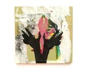 mixed media painting, wood panel --  grunge art, silhouette, punk, pink, hand art, street art, textured, graffiti
