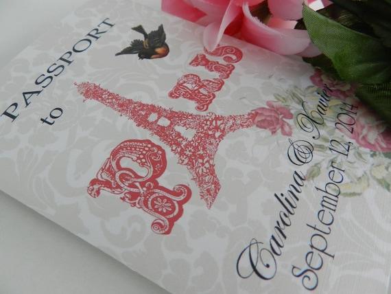 Destination Wedding Invitations Etsy: Items Similar To Paris Passport Wedding Invitations