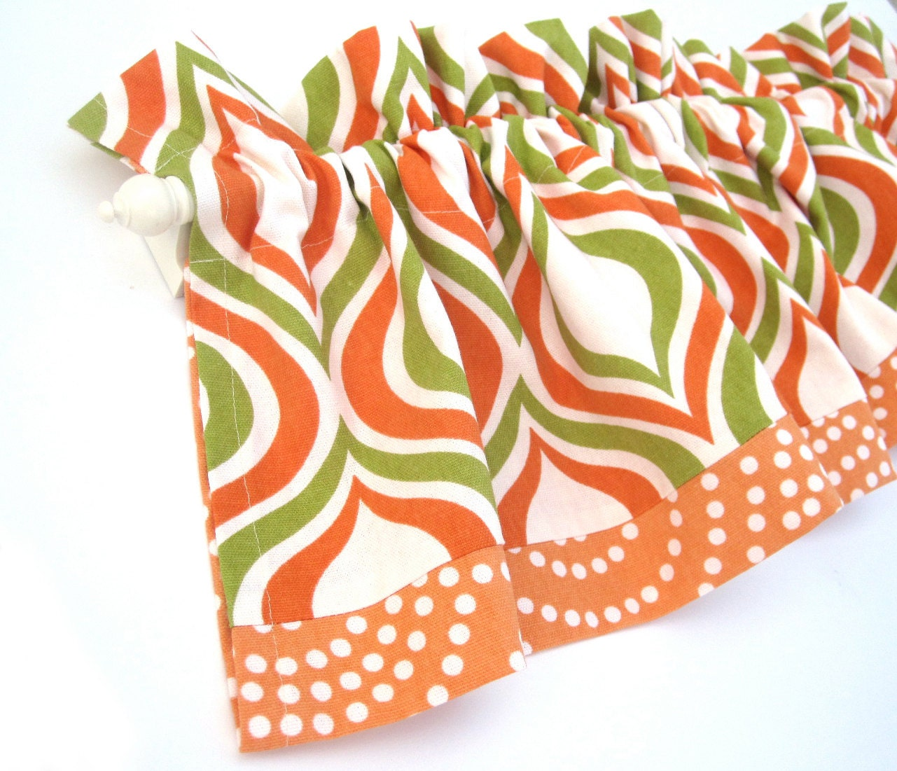 Sunny Valance Curtains Orange White Green Spots 43 Inches Wide